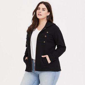 Torrid Black Military Zip Jacket